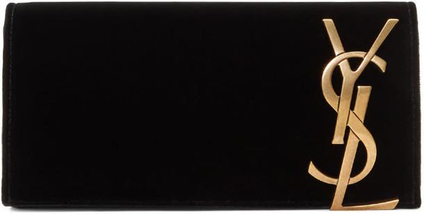 Saint Laurent clutch black velvet bag