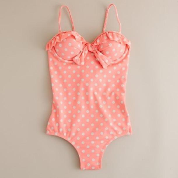 swimwear white cuteness pink orange underwear polka dots