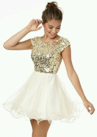 dress gold sequins white skirt