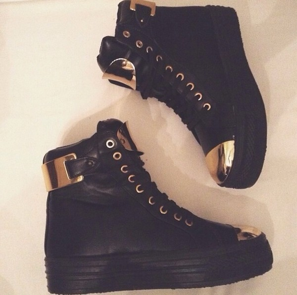 shoes gold black high top sneakers