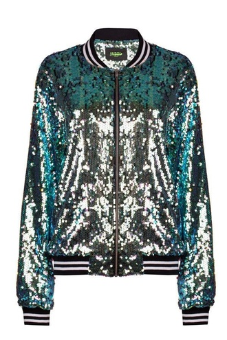 jacket fashion style fall outfits gold sequins sparkle glitter leather jacket sweater turquoise green jacket