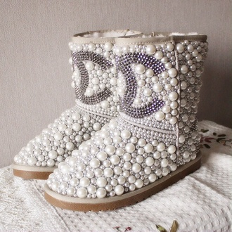 shoes pearlized chanel boots chanel swarovski crystal ugg boots pearl hat