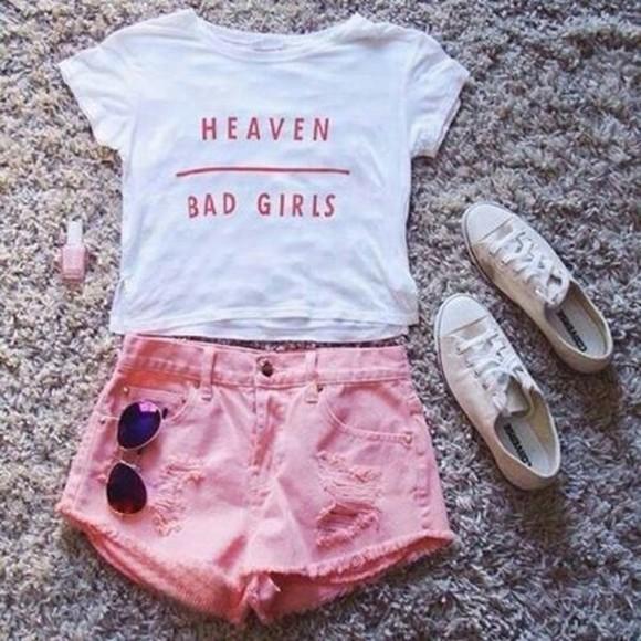 pink white t-shirt