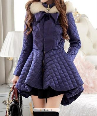 coat purple coat bow jacket long sleeves long coat zipper zip fur coat fur squares