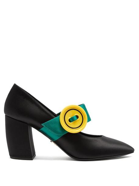 Prada oversized pumps satin black green shoes