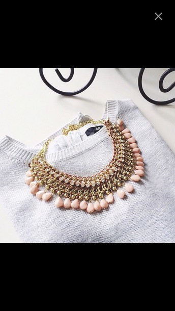 jewels necklace gold and pink supercute love weheartit