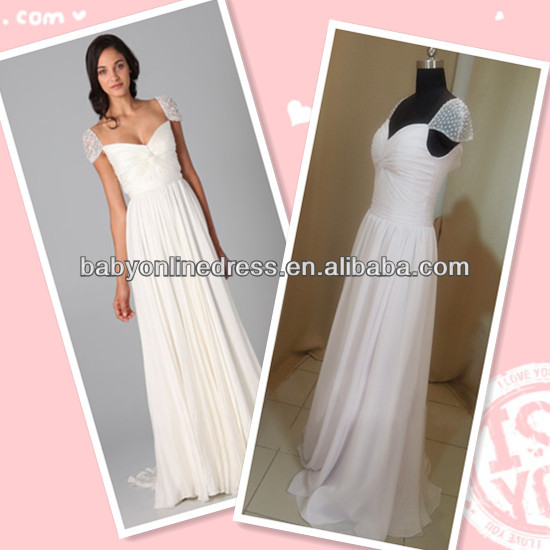 Alibaba.com - Wholesale Wholesale Price 2014 New Sexy Sheath Cap Sleeves Long Chiffon Ruched Evening Formal Dess Prom Dresses Woman Dress hsc-003