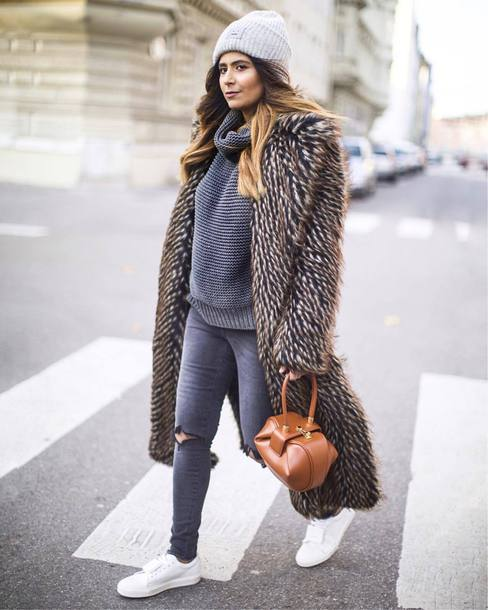sweater tumblr knit knitwear knitted sweater grey sweater turtleneck turtleneck sweater coat all grey everything jeans grey jeans fur coat long fur coat long coat faux fur coat grey beanie beanie winter outfits