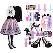 skirt,top,pastel goth,inverted cross,inverted crosses,cross,crosses,outfit,pastel goth outfit,jewelry,lolita,kawaii,skeleton,skeleton tights,skeleton socks,bones,black,white,heels,kawaii heels,lolita heels,loli,lipstick,lime crime,lime crime lipstick,purple,pink,skull,mascara,nails,pastel goth nails,melting,wig,pastel,pastel pink,pastel purple,eye shadow,necklace,bracelets,jacket,lace,coat,bow,stuffed animal,plushie,skeleton plushie,glasses,heart glasses,cats,skull bracelet,pastel goth jewelry