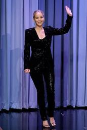 jacket,blazer,jennifer lawrence,pants,sandals,sequins,black,all black everything