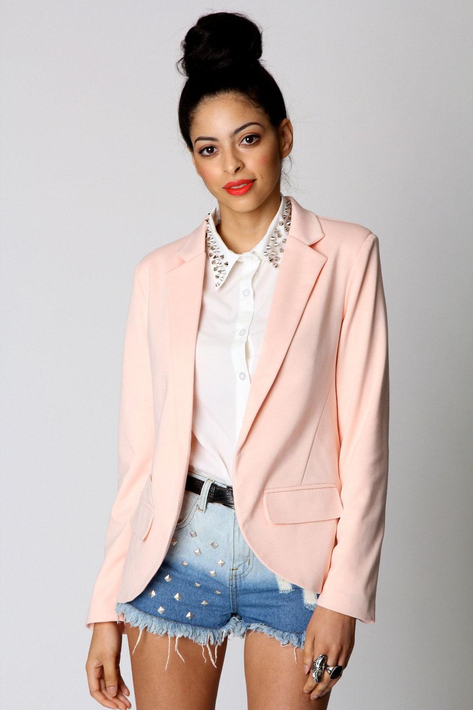 Boohoo alice pastel pink jersey blazer in pink on ebay!
