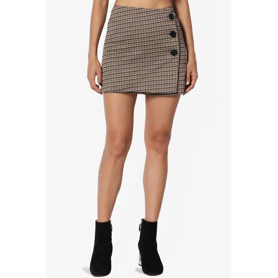 TheMogan - TheMogan Junior's Plaid Button Detail Wrap Skirt Overlay High Waist Short Skort - Walmart.com