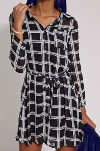 dress black white fashion long sleeves simple style shirt collar plaid printed waist tied mini dress for women trendy classy style rg