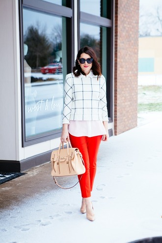 kendi everyday blogger blouse checkered red pants satchel bag sweater pants shoes bag jewels sunglasses