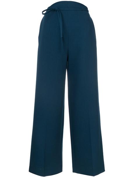 pants palazzo pants women spandex blue wool