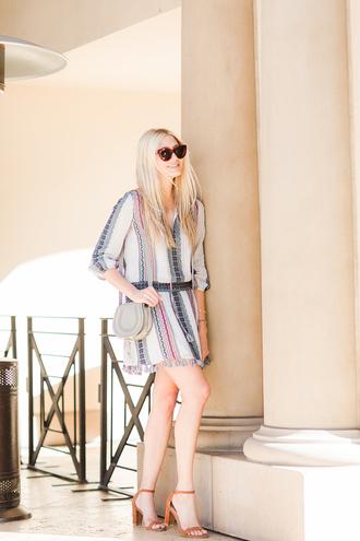 modern ensemble blogger dress bag shoes sunglasses mini dress shoulder bag sandals high heel sandals summer outfits