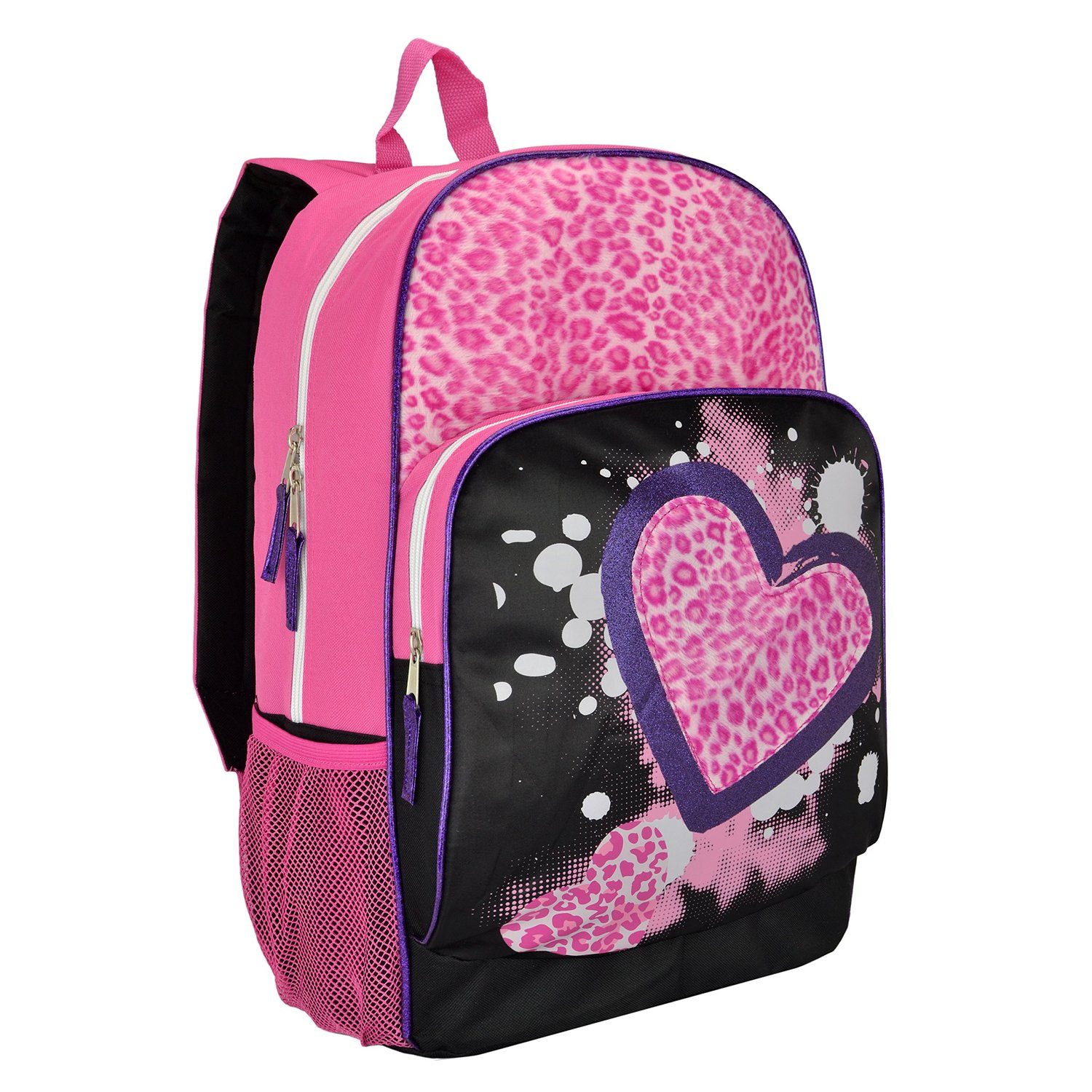 Amazon MyGift 17 Inch Pink Furry Leopard Print Hearts Kids School Book Bag Student Backpack Clothing