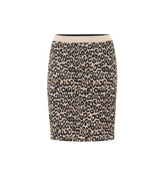 Miu Miu Leopard intarsia wool-blend skirt in brown