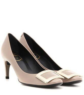 pumps leather grey shoes