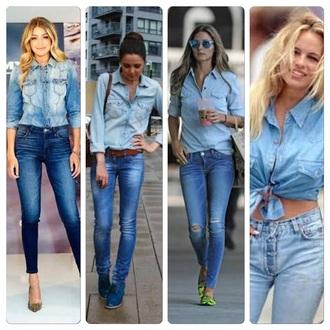 coat double demin sunglasses demin belt shirt jeans demin jeans demin jacket
