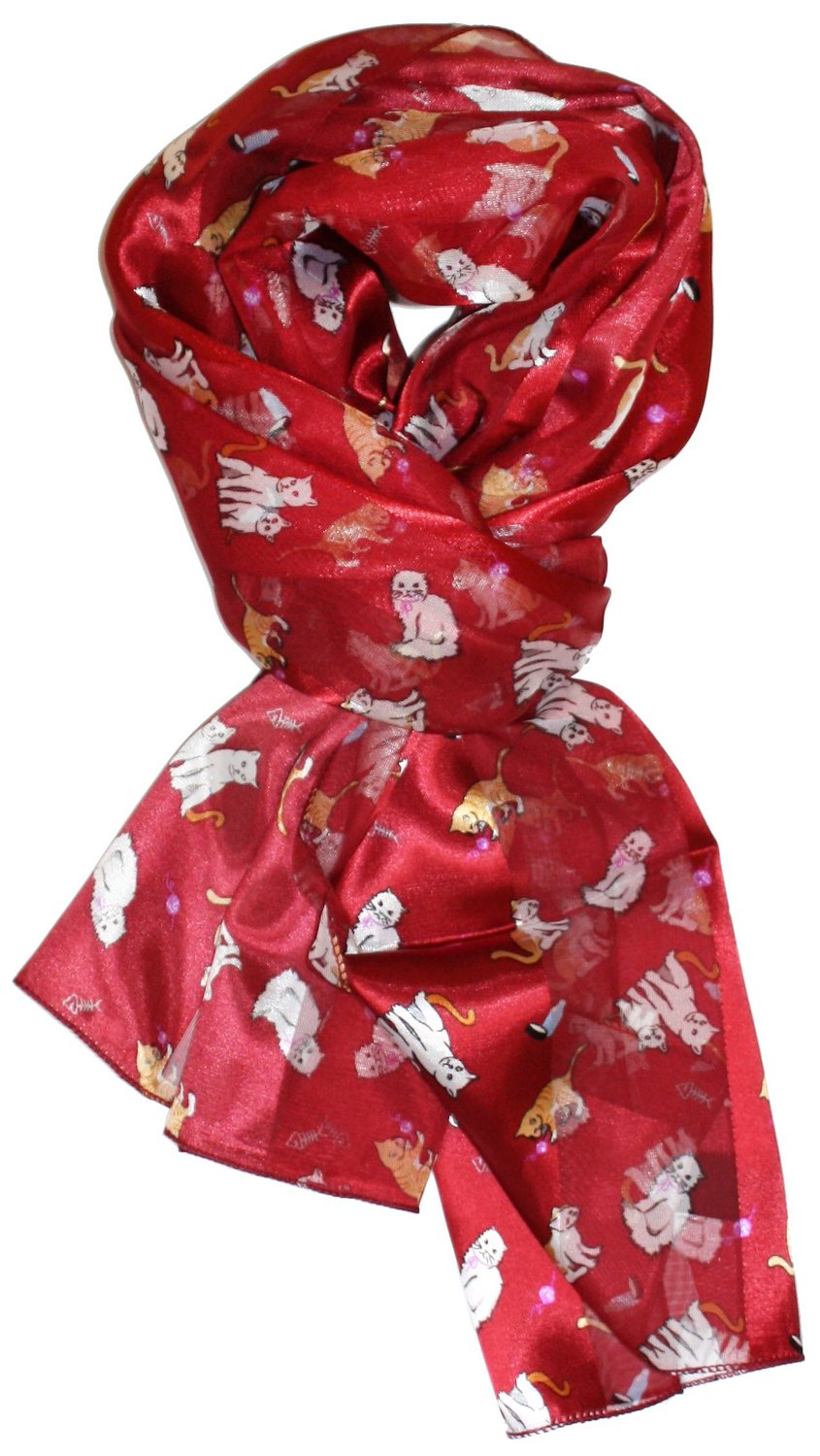Modern minute's purrfect prints silk feel cat scarf in red at amazon women's clothing store: