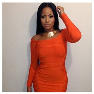 jewels necklace orange babe sleek hair orange dress curvy thick girls