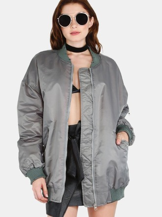jacket girl girly girly wishlist bomber jacket grey oversized