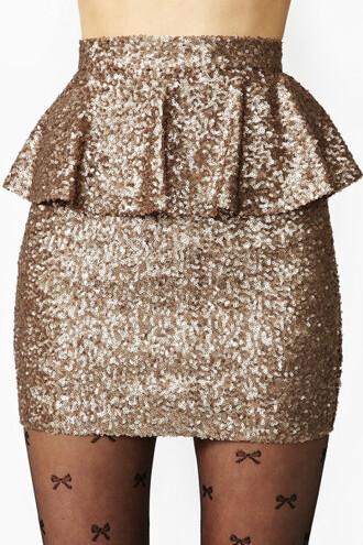 skirt gold sequins peplum skirt gold sequins new year's eve