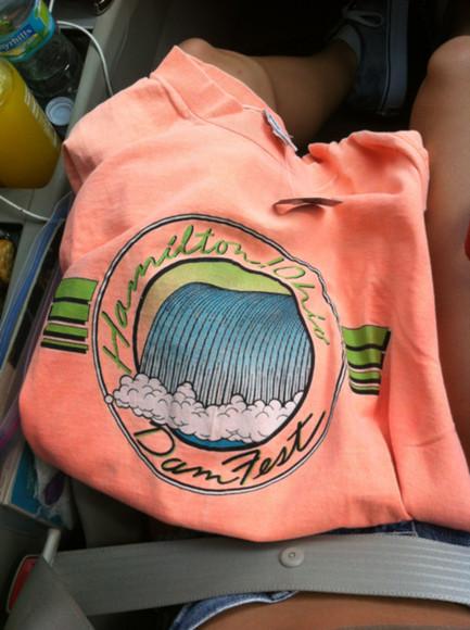 beach bright summer top shirt coral pink