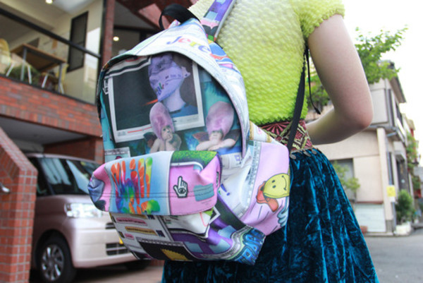 bag based backpack soft ghetto cartoon weird velvet skirt blue skirt 90s style computer quote on it colorful graphic print digital print streetstyle urban streetwear chic patchwork collage kawaii kawaii dark creepy kawaii skirt school bag hippie 90s style polaroid camera