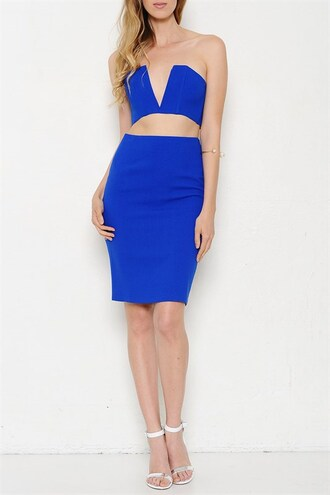 dress trendyish zip skirt set dress set crop pencil skirt deep v strapless