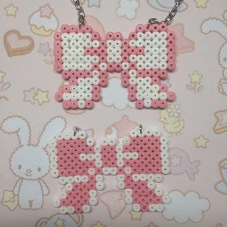 jewels pink white pendant ribbon kawaii cute bow handmade