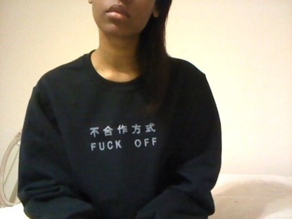 sweater sweatshirt black fuck off