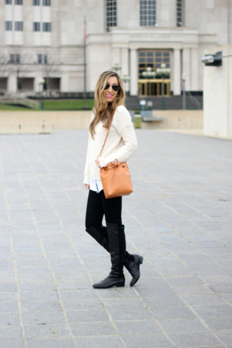 lilly's style blogger bag sunglasses off-white black boots knee high boots leather bag orange