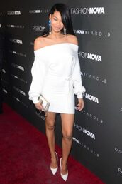 dress,all white everything,mini dress,off the shoulder,off the shoulder dress,pumps,chanel iman,model off-duty