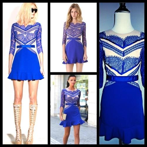 RARE Sexy Three Floor Inspired Shades of Blue Colbalt Lace Dress Frill BLOGGER S | eBay