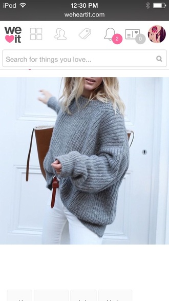 sweater comfy crochet sweater grey sweater oversized sweater