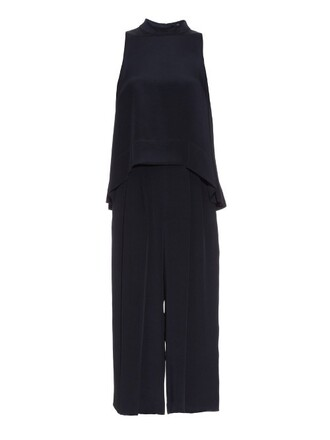 jumpsuit back cropped silk navy