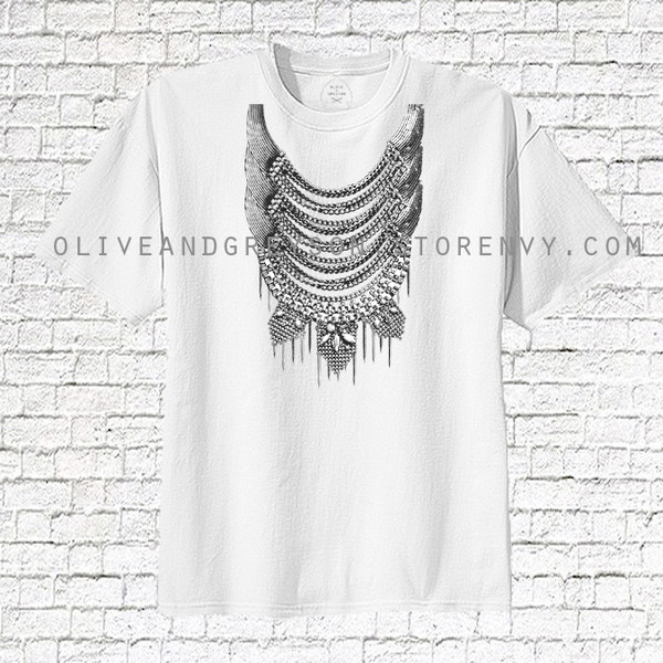 clothes lothing women t-shirt white t-shirt trendy style lookbook oliveandgreyson oliveandgreyson.storenvy.com tribal pattern ethnic native jeweled top chain top chain necklace jewelry top heat press heat press top hilltribe top hmong miao ethnic inspired silver jewelry bib necklaces