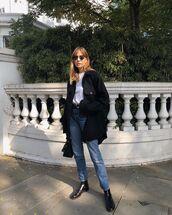 jacket,oversized jacket,black jacket,jeans,high waisted jeans,black boots,flat boots,handbag,white t-shirt,sunglasses