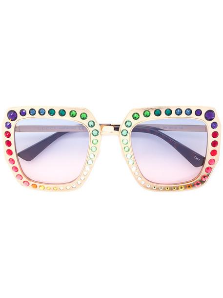 Gucci Eyewear - Oversized acetate sunglasses - women - Acetate/Swarovski Crystal/metal - 52, Grey, Acetate/Swarovski Crystal/metal in metallic