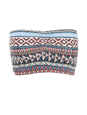 Blue aztec print bandeau