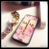 jewels,iphone case,gold,studded,cross,flowers