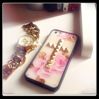 jewels iphone case flowers gold studded cross