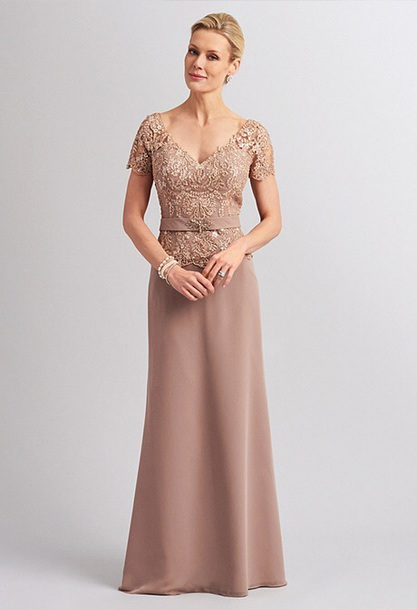 d3ee4577edc dress long evening dress beige short sleeveses mother of the bride dress -