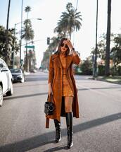 coat,long coat,trench coat,suede,knee high boots,black boots,handbag,mini skirt,blouse,sunglasses