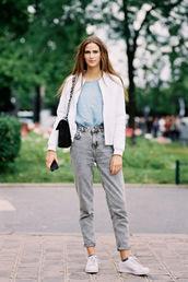 vanessa jackman,blogger,jacket,shoes,jeans,bag,top,t-shirt