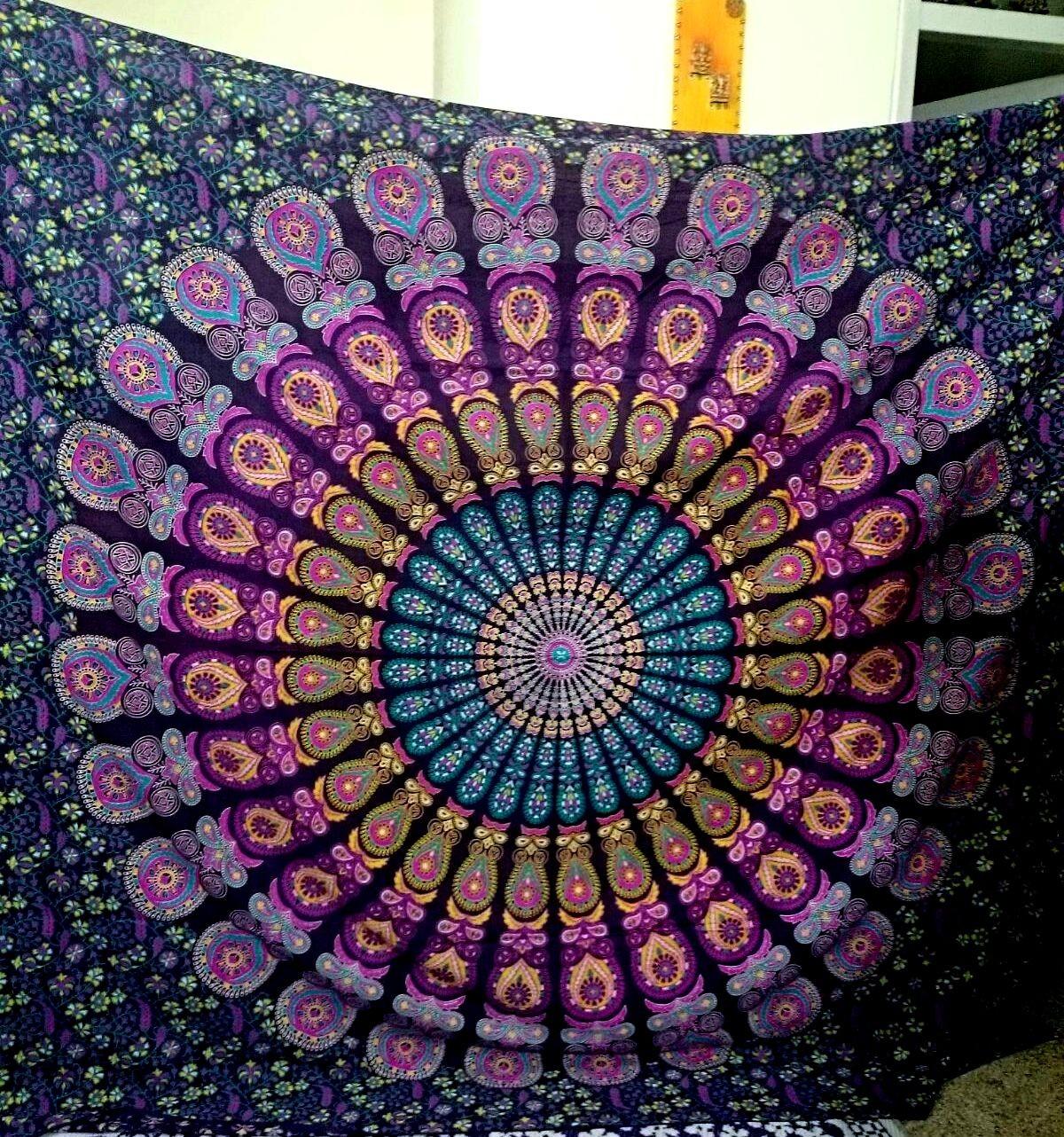 lavender paradise peacock tapestry   mandala tapestry