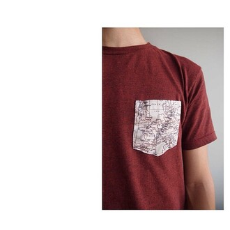 t-shirt guys pockets pocket t-shirt mens t-shirt burgundy map print menswear