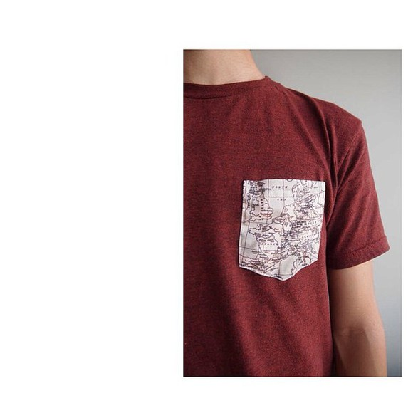 t-shirt bordeaux guy pocket